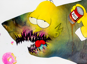 Original Art by Shark Toof - Ceci N'est Pas Une Homer Simpson - Original Painting