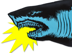 Art by Shark Toof - Shark Head - Blue Fluorescent Variant