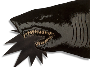 Art by Shark Toof - Shark Head - Black & Gray Variant