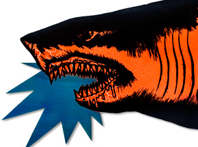 Art by Shark Toof - Shark Head - Orange Fluorescent Variant