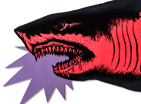 Art by Shark Toof - Shark Head - Red Fluorescent Variant