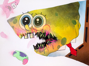 Original Art by Shark Toof - Ceci N'est Pas Une Spongebob  - Original Painting