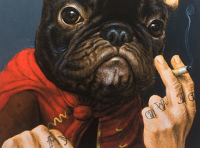 Art Print by Turf One - Le Chien Qui Fume - Hand-Embellished Edition