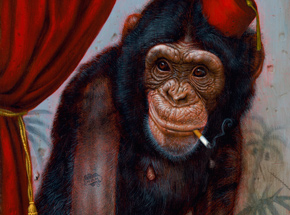 Art Print by Turf One - The Smoking Chimp - 12 x 24 Inch Edition