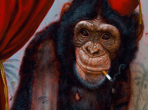 Art Print by Turf One - The Smoking Chimp - 12 x 24 Inch Edition - Framed