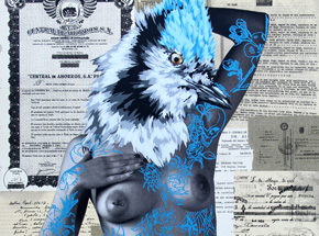 Art Print by Vinz - The Tattooed Girl - Hand-Embellished Edition