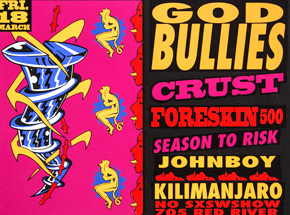 Art by Lee Bolton - God Bullies - Mar. 18th 1993 at the Kilimanjaro Austin, TX