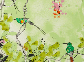 Art Print by Xenz - Beautiful Sunbirds - Green Variant