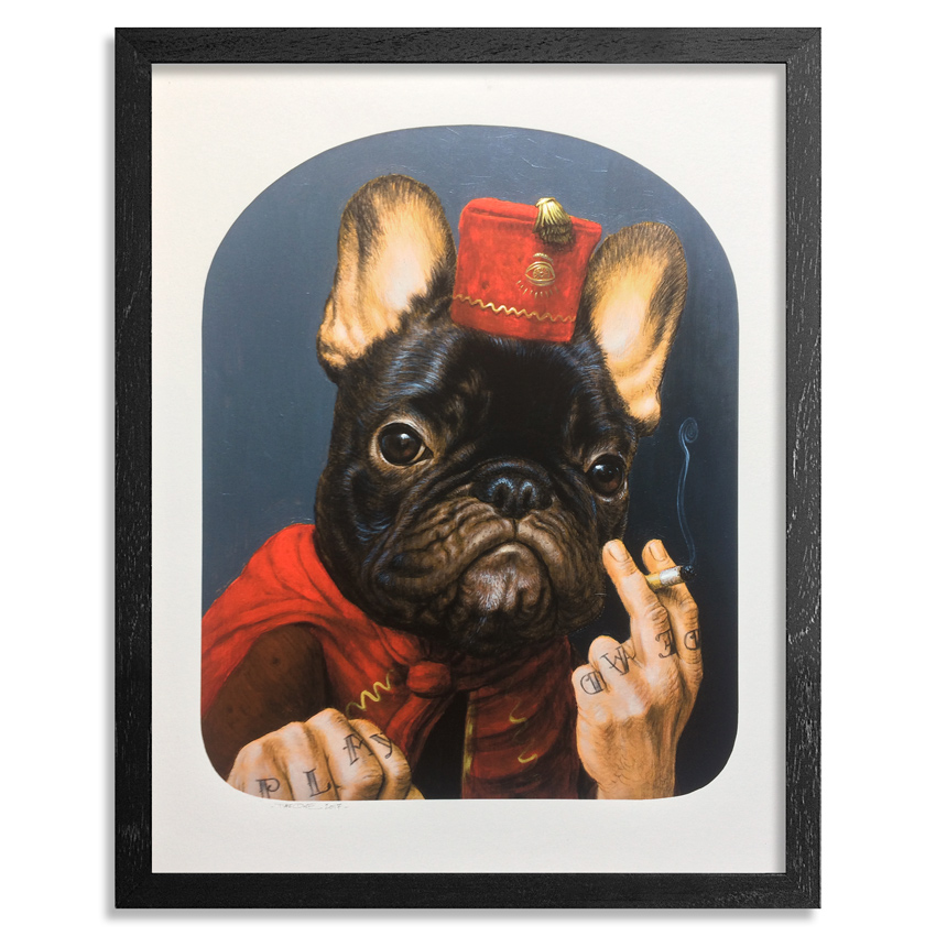 Turf One Art Print - Le Chien Qui Fume - Hand-Embellished Edition