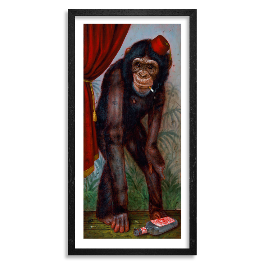Turf One Art Print - The Smoking Chimp - 12 x 24 Inch Edition - Framed